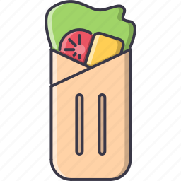 food, meat, restaurant, roll, salad, tomato icon