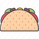 food, meat, restaurant, taco, tomato icon