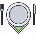 cafe, fork, knife, napkin, plate, restaurant icon