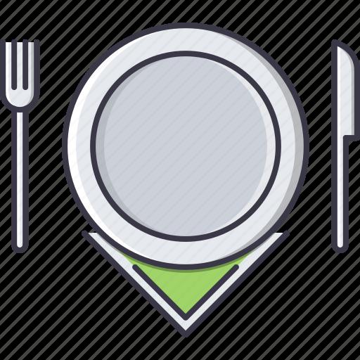 cafe, fork, knife, napkin, plate, restaurant icon