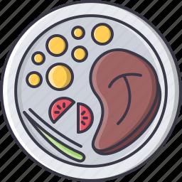 food, meat, plate, potato, restaurant, steak, tomato icon