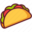 cartoon, cuisine, fast food, food, mexican, taco icon