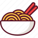 asian, bowl, cartoon, chinese, chopsticks, food, noodles icon