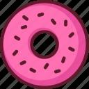 cartoon, dessert, donut, food, pink, sprinkles icon