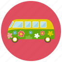 flower, van, vintage, retro, vehicle, transportation