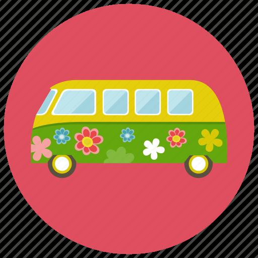 flower, retro, transportation, van, vehicle, vintage icon