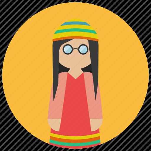 avatar, hippie, retro, style, vintage icon