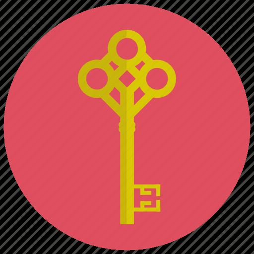 key, lock, retro, vintage icon