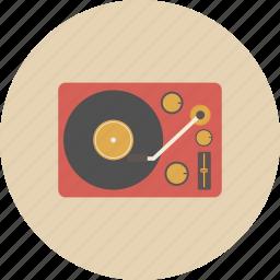dj, entertainment, equipment, gadget, music, retro, turntable icon