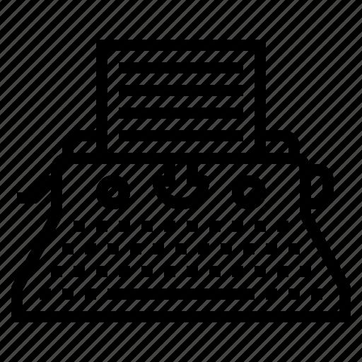 document, keyboard, paper, type, typewriter icon