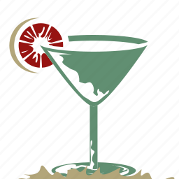 alcoholic beverage, cocktail glass, cocktail glass with a lemon on the side, drink, lemon twist, martini, retro icon