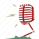 broadcast, microfone, multi media, presenter, radio, retro, sound waves icon