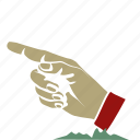 back, direction, hand gesture, location, point, retro, touch icon