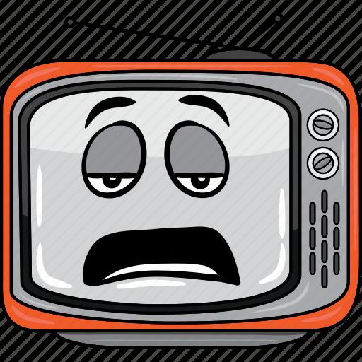 cartoon, emoji, retro, smiley, television, tv icon