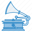 gramophone, outline, record, retro, tech