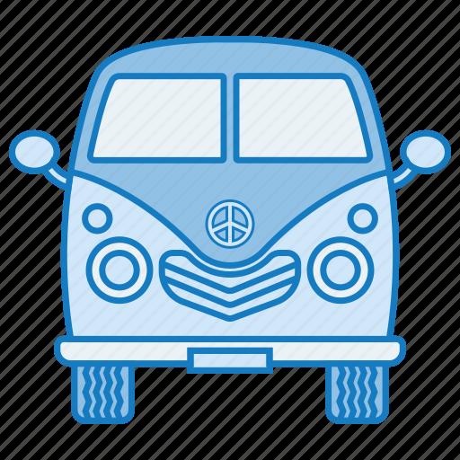 car, retro, travel, trip, van icon
