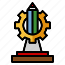 trophy, industrial, engineering, award, cogwheel