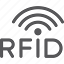 antenna, chip, line, network, radio, rfid, wave icon