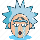 crying, emoji, rick, rick and morty, sad icon