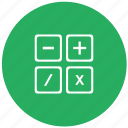 calc, calculator, count, green, instrument, math icon