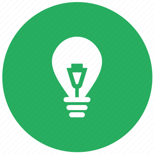 bulb, electricity, energy, green, light, power, round icon