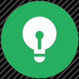 bulb, green, lamp, light, lighting, round icon