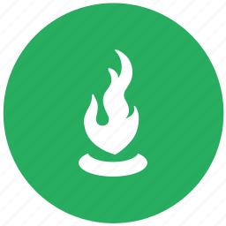 burn, candle, candlelight, green, light, round icon