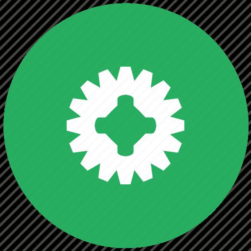 complex, detail, gear, green, mechanism, round icon