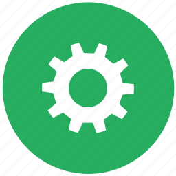 configuration, gear, green, options, round, settings icon