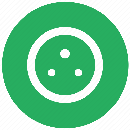 charge, electric, electricity, green, plug, round, socket icon