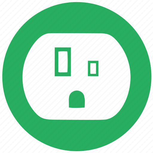 electric, electricity, green, round, socket, tyoe, usa icon