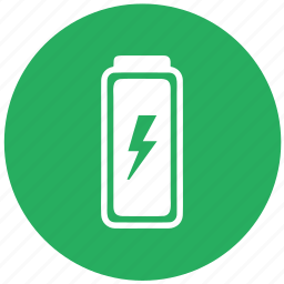 battery, electric, energy, green, mobile, round, storage icon