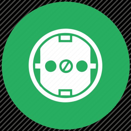 electric, euro, green, round, socket, standart, type icon