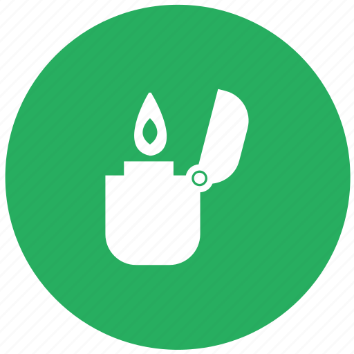 automatic, fire, flame, green, petrol, round, smoking icon