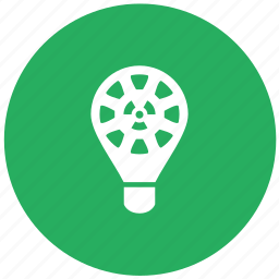 energy, green, lamp, light, nuclear, round icon
