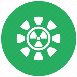 green, radiation, round icon