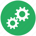 details, engine, gear, green, round, settings icon