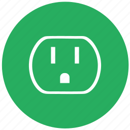 electric, green, round, socket, standart, type, usa icon