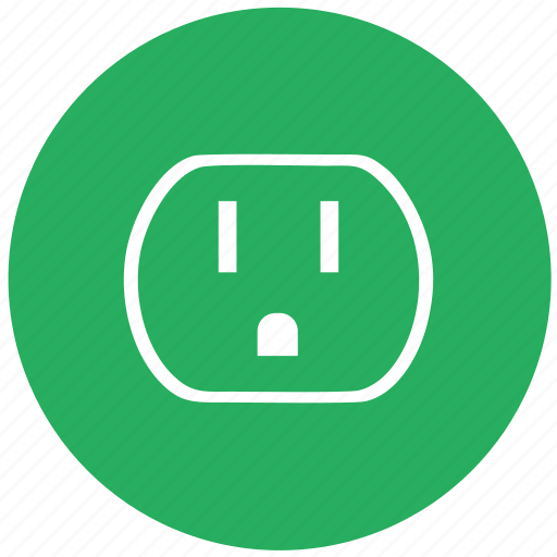 electric, green, round, socket, standart, type, usa icon