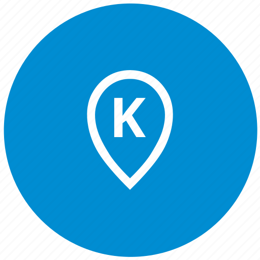 k, letter, map, point, round icon