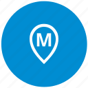 letter, m, map, point, round icon
