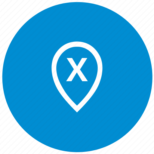 letter, map, point, round, x icon