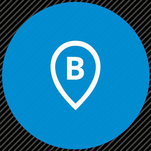 b, letter, point, pointer, round icon