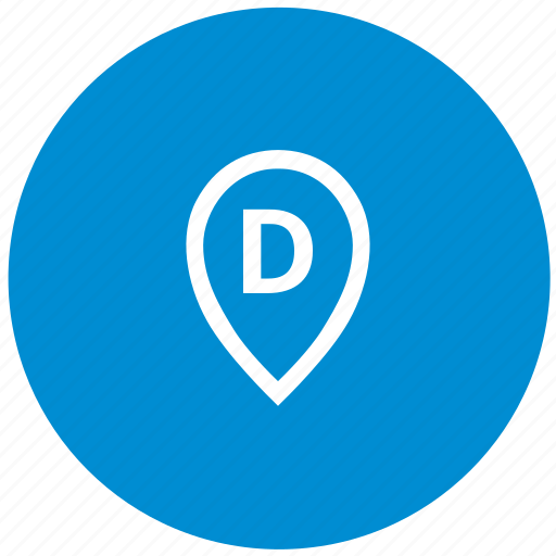 d, letter, map, point, round icon