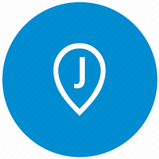 j, letter, map, point, round icon