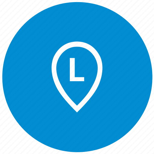 l, letter, map, point, round icon
