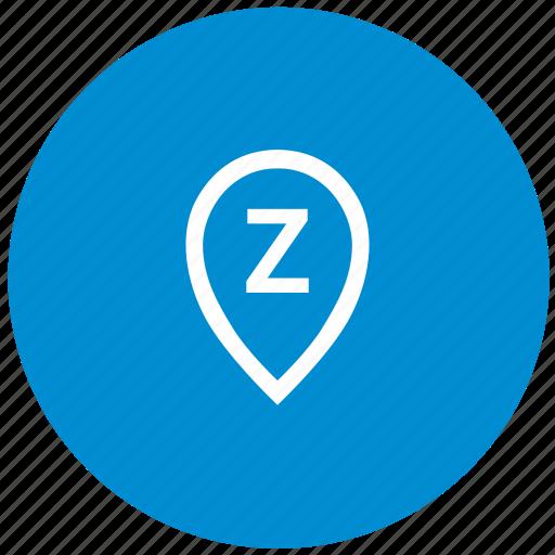 geo, location, point, pointer, round, z icon