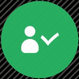 accept, comfirm, green, id, login, person, user icon