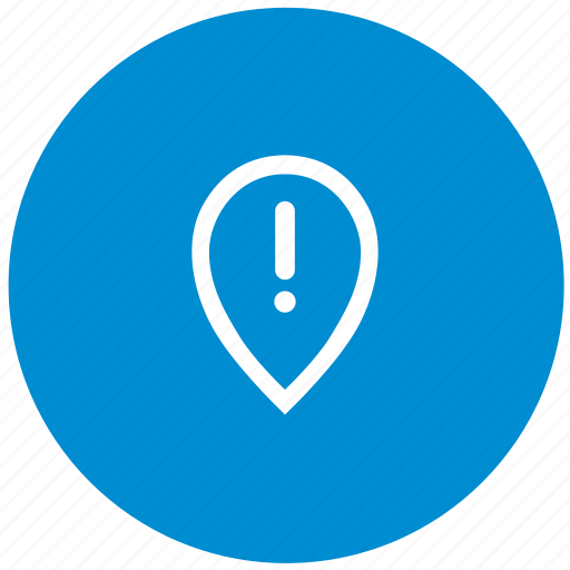 attention, geo, location, pointer, round, warning icon