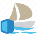 boat, insurance, protection, sea, ship, travel, vessel icon